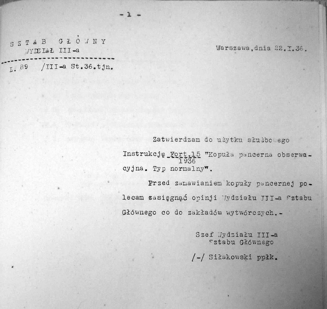 Instrukcja Fort. 15-1936 kopuła pancerna obserwacyjna. Typ normalny .