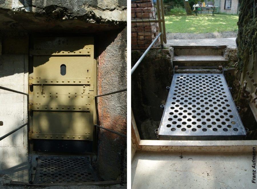 Fot. 08. od lewej: Drzwi chroniące wejście do schronu. Kładka przez rów diamentowy.