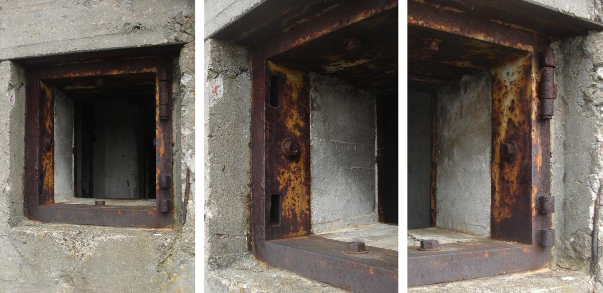 Fot. 07. Ościeżnica pancerza wyjścia ewakuacyjnego. Widok sposobu mocowania ościeżnicy za pomocą kotw. Otwory do ryglowania drzwi i zawiasy.