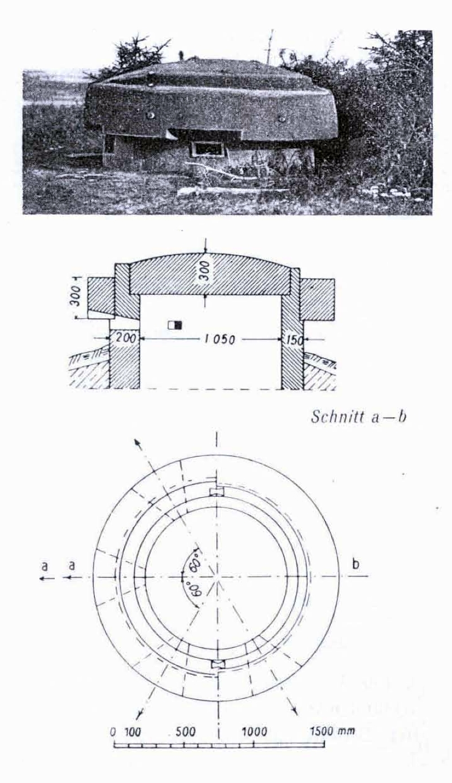 Zdjęcie 02 i rysunek 01 radzieckiej kopuły obserwacyjnej (Denkschrift über die Russische Landesbefestigungen).