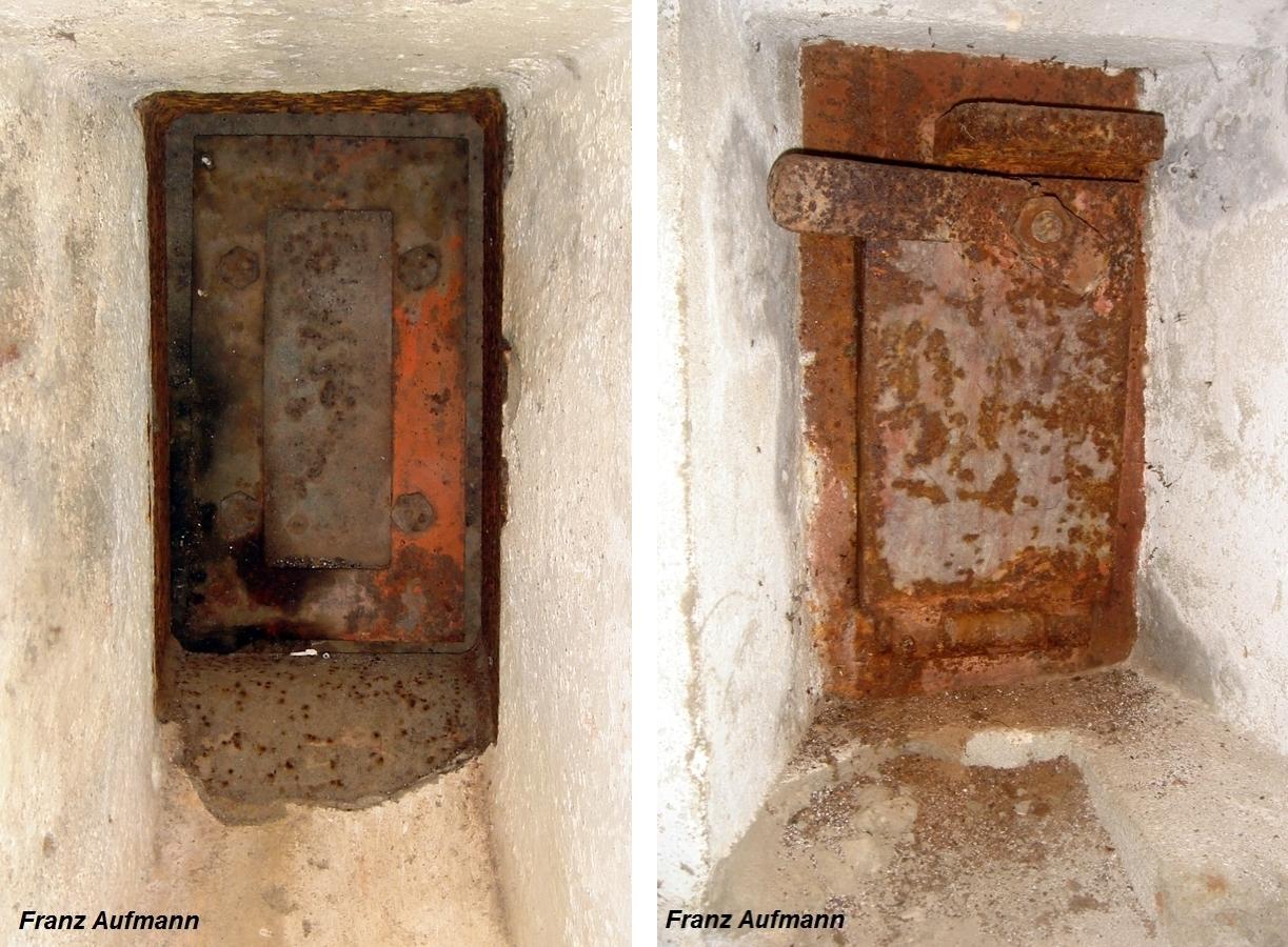 Fot. 01. Zamknięcie strzelnicy pomocniczej (obrony wejścia) od strony korytarza wejściowego (lewe) i od strony izby (prawe).