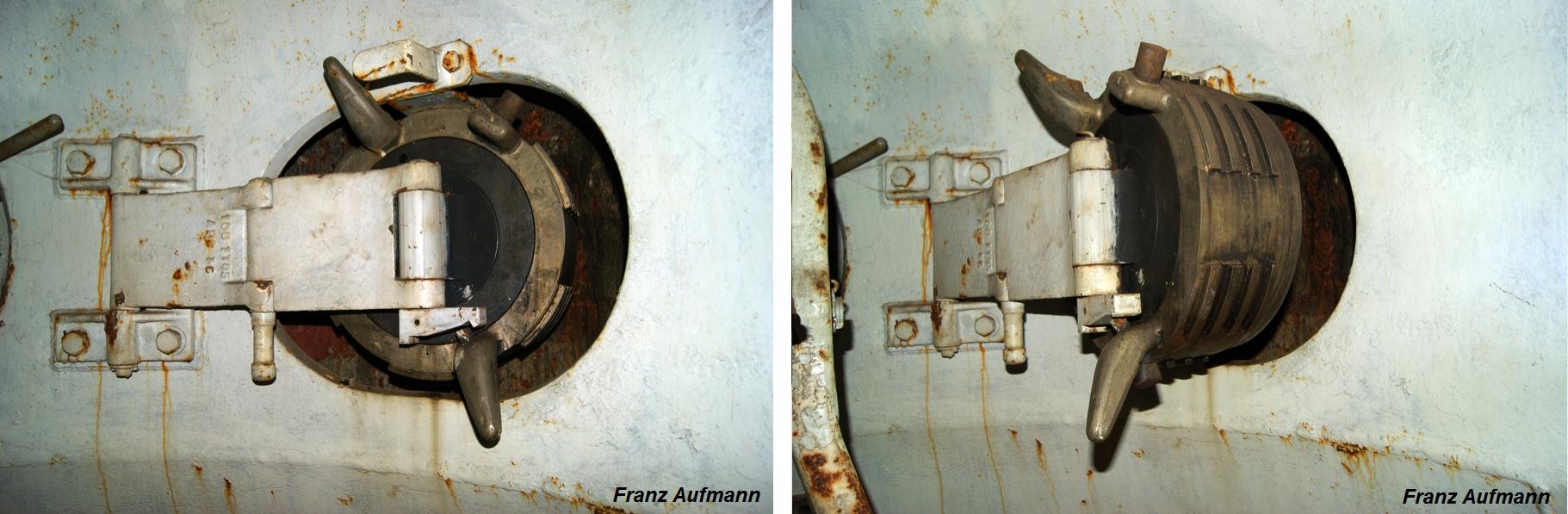 Fot. 11. Obrotowe zamknięcie strzelnicy ulokowane w niszy pancerza na czas prowadzenia ognia ze strzelnicy.