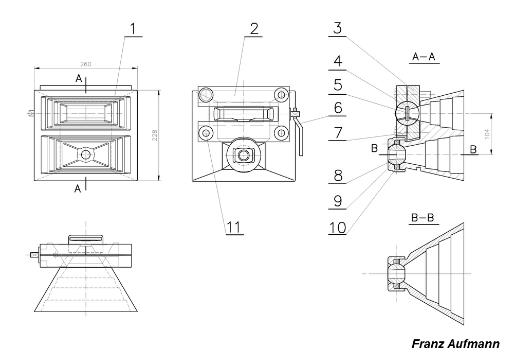Rys. 01. Wkładka gazoszczelna pancerza skrzynkowego z 1936 roku. 1. staliwna wkładka z profilem przeciwrykoszetowym, 2. przednia część korpusu przeziernika, 3. tylnia część korpusu przeziernika, 4. obrotowe zamknięcie ze szczeliną obserwacyjną, 5. płyta z klejonego szkła, 6. dźwignia zamknięcia, 7. uszczelka filcowa, 8. jarzmo kuliste z otworem na lufę, 9. nakrętka dociskająca jarzmo kuliste, 10. uszczelka filcowa,