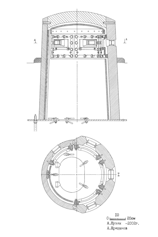 Rys. 01. Przekrój wzdłużny i poprzeczny kopuły typu GAU. Rysunek wykonał A. Kuziak i A Kreszczanow.
