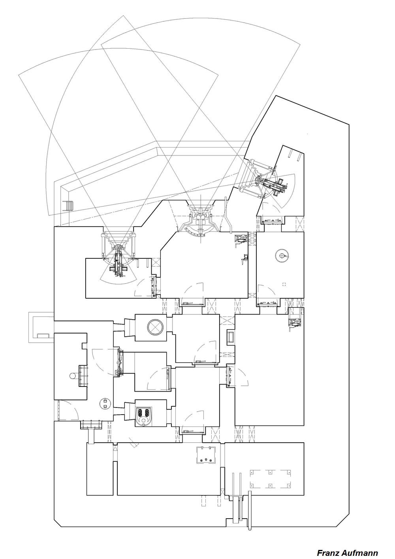 Rys. 03. Schemat jednokondygnacyjnego schron dla armaty przeciwpancernej i ckm do ognia bocznego (OPPK) z ckm w orylonie [04].
