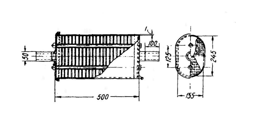 Rys. 03. Tłumik układu wydechowego silnika wysokoprężnego - wymiary.