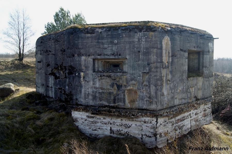 Jednokondygnacyjny schron na 45 mm armatę przeciwpancerną i ckm (OPDOT). Widok od strony przedpola (Hamulka).