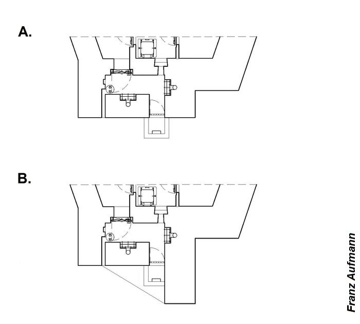 Rys. 03. Tylna elewacja dwukondygnacyjnego schronu na dwa ckm-y i 45 mm armatę przeciwpancerną w prawej izbie (OPDOT). -A. standardowe rozwiązanie, -B. rozwiązanie z przedłużoną ścianą boczną i okapem nad wejściem.