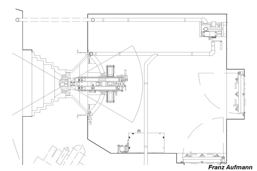 Rys. 02. Rekonstrukcja przebiegu przewodów usuwających gazy prochowe z izb w dwukondygnacyjnym schronie do ognia bocznego na dwa ckm-y (PPK).