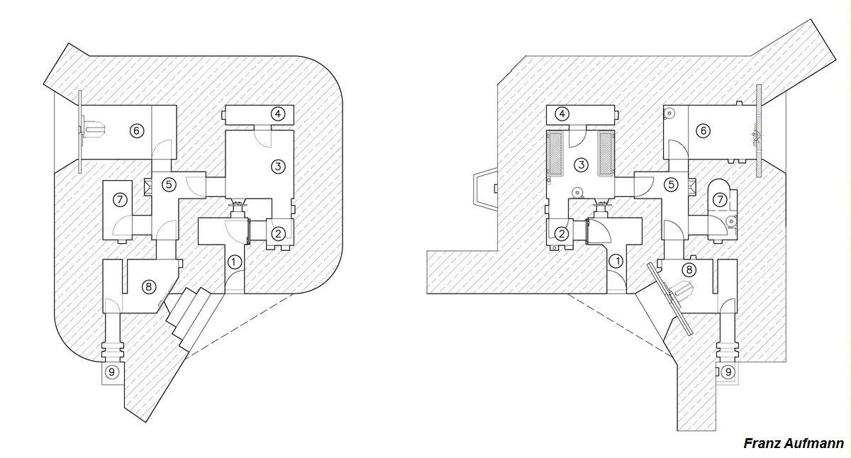 Rys. 02. Zestawienie schematów schematów schronu R 105d z 1939 roku (po lewej stronie) i schemat schronu R 105b z 1940 roku (po prawej stronie). 1. Korytarz wejściowy, 2. Śluza przeciwgazowa, 3. Izba załogi, 4. Pomieszczenie magazynowe, 5. Korytarz, 6. Główna izba bojowa dla ckm, 7. Izba dowodzenia ze stanowiskiem peryskopu, 8. Izba bojowa dla ckm obrony wejścia i zapola ze składem amunicyjnym, 9. Wyjście ewakuacyjne.