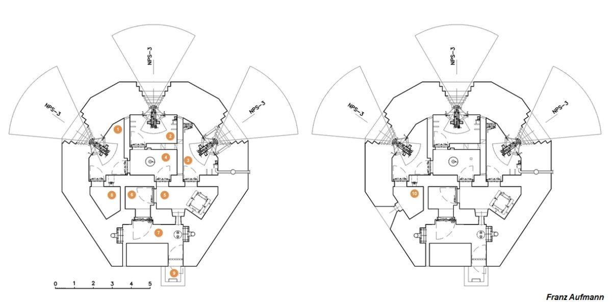 Rys. 01. Górna kondygnacja schronu PDOT na trzy ciężkie karabiny maszynowe. Po prawej stronie wariantowe rozwiązanie schronu z dodatkową strzelnicą na rkm. 1.-3. izba bojowa dla stanowiska bojowego NPS-3, 4. izba dowodzenia, 5. korytarz z szybem do dolnej kondygnacji, 6. śluza przeciwgazowa, 7. korytarz wejściowy z czerpniami powietrza, 8. szyb wyjścia ewakuacyjnego, 9. pomieszczenie magazynowe, 10. pomieszczenie magazynowe ze strzelnicą rkm.