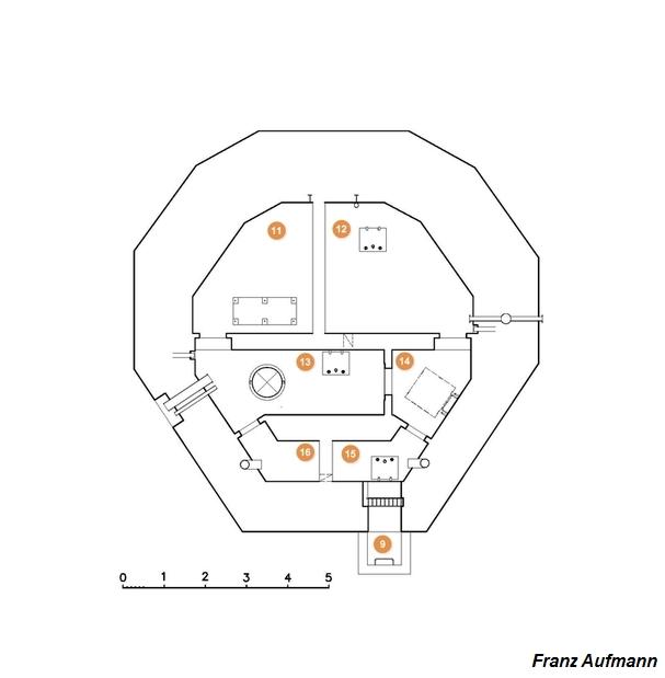 Rys. 02. Schemat dolnej kondygnacji schronu PDOT na trzy karabiny maszynowe.