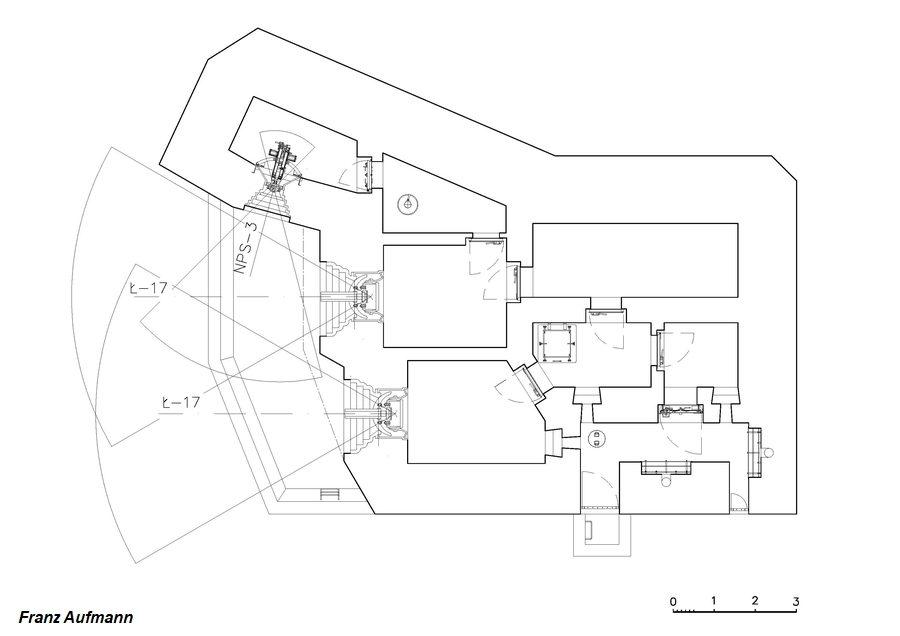 Rys. APK - dwukondygnacyjny artyleryjski schron do ognia bocznego na dwie armaty i ckm. Górna kondygnacja.