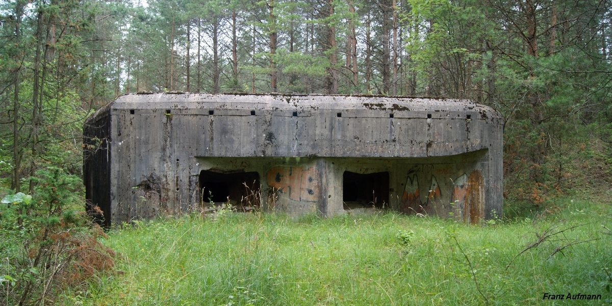 Fot. Linia Mołotowa. APK - dwukondygnacyjny schron do ognia bocznego na dwie 76 mm armaty i rkm (Wołkusz, Grodzieński Rejon Umocniony).