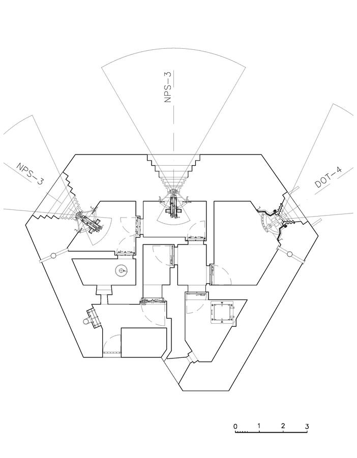 Rys. OPDOT - dwukondygnacyjny schron na dwa ckmy, 45 mm armatę w prawej izbie i rkm.