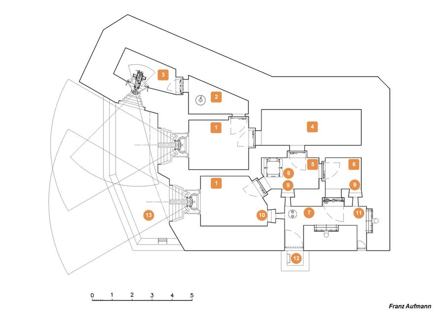 Rys. 01. Górna kondygnacja dwukondygnacyjnego schronu na dwie 76 mm armaty i ckm.
