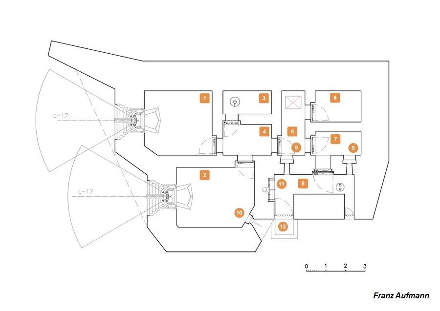 Rys. 01. Górna kondygnacja dwukondygnacyjnego schronu na dwie 76 mm armaty i rkm.