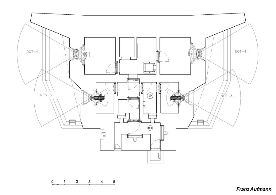 Rys. OPK - Dwukondygnacyjny schron do ognia dwubocznego na dwie 45 mm armaty i 2 ckm-y - schemat górnej kondygnacji.