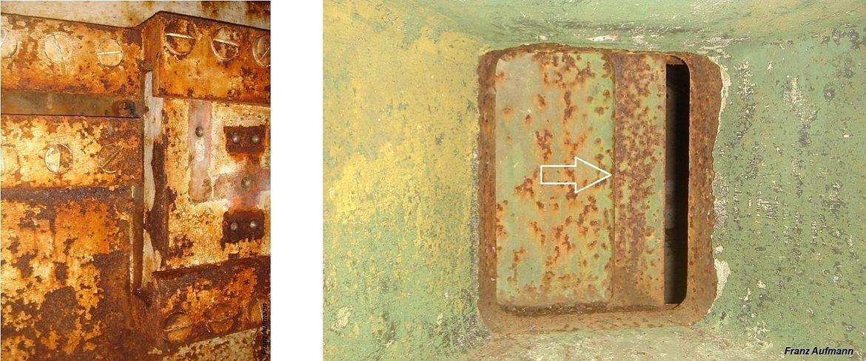 Fot. xx. Po lewej stronie widok zasuwy strzelnicy ckm od strony izby bojowej. Po Prawej stronie zaznaczono cofnięty zarys powierzchni czołowej zasuwy strzelnicy ckm.. Po p
