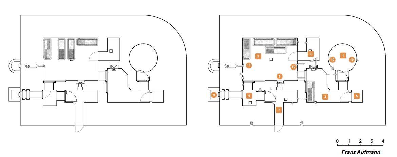 Rys. 01. Schemat schronu R 112 b z wariantowym położeniem prycz -1. przestrzeń bojowa, -2. izba załogi, -3. magazyn żywności, -4. przedsionek, -5. magazyn amunicji, -6. śluza przeciwgazowa, - 7. wejście do schronu, -8. strzelnica obrony wejścia, -9. wyjście ewakuacyjne, -10. położenie filtrowentylatora HES, -11. przewód kominowy.